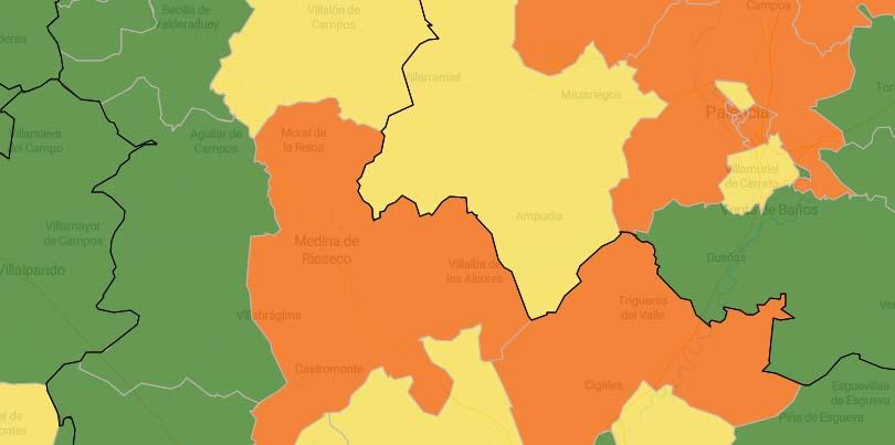 La zona de Medina de Rioseco pasa a naranja en el mapa de incidencia de la Covid