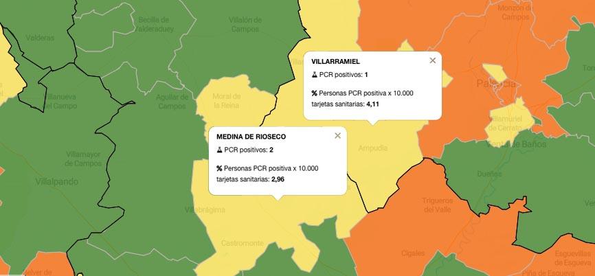 Las áreas de salud de Medina de Rioseco y Villarramiel caen a la zona amarilla de incidencia del coronavirus