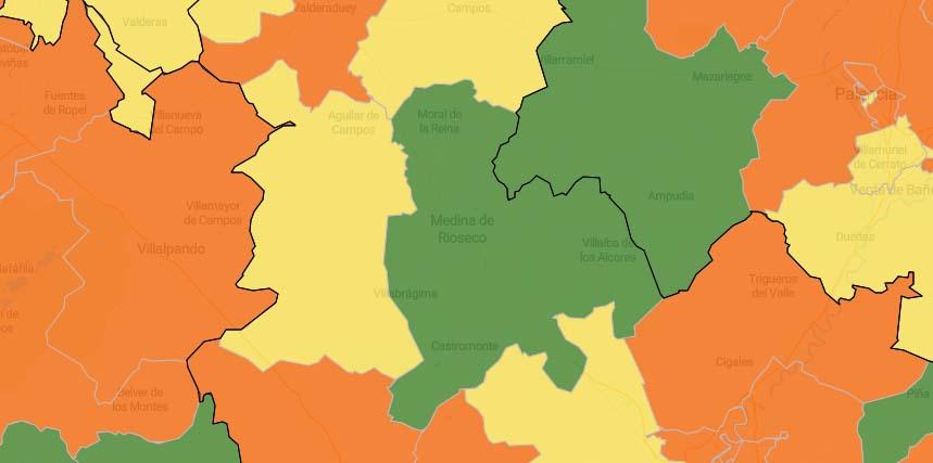 Las zonas de salud de la zona intercambian sus colores en el mapa del coronavirus