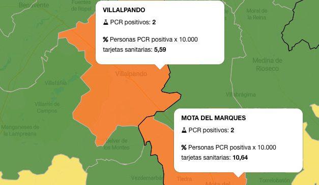 Villalpando y Mota del Marqués, en zona naranja del mapa del coronavirus