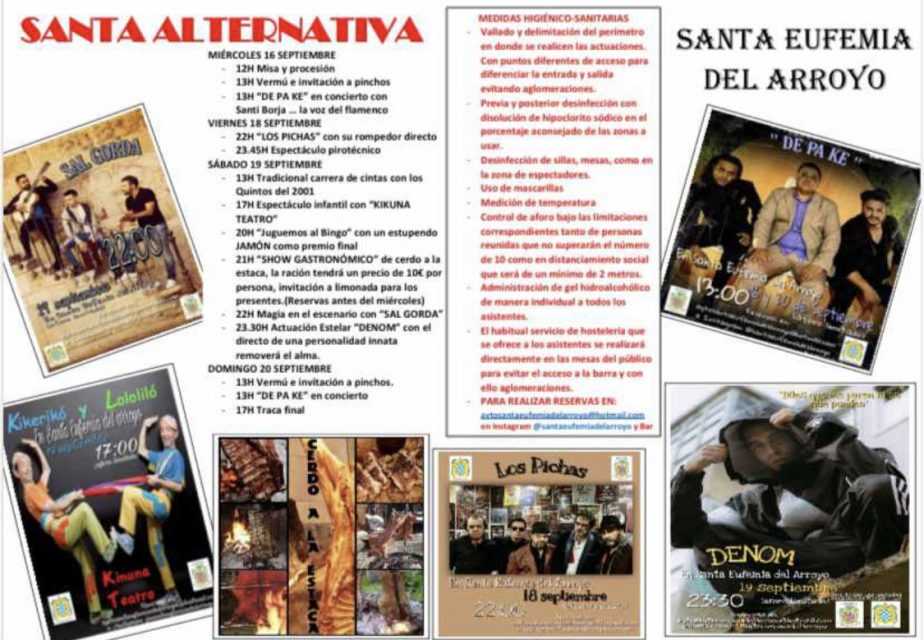 Conciertos, gastronomía y tradición en las fiestas alternativas de Santa Eufemia del Arroyo