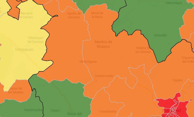 Intercambio de colores en el mapa del coronavirus de la zona