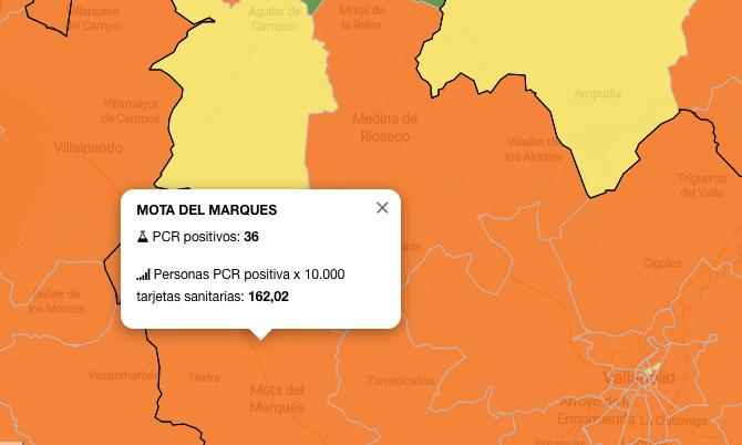 La zona básica de salud de Mota del Marqués incrementa los contagios hasta 36 en siete días