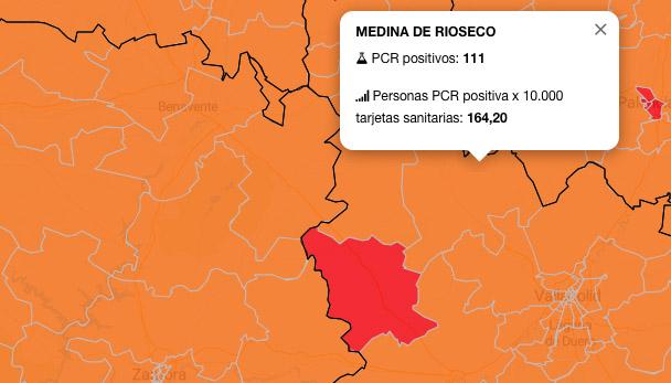 Crecimiento exponencial de contagios en la zona de salud de Medina de Rioseco: acumula 111 PCR positivos en los últimos siete días