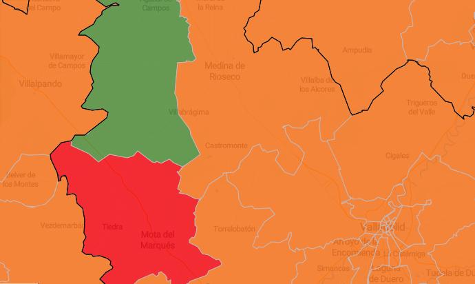 La zona roja de Mota del Marqués ya destaca en el mapa del coronavirus