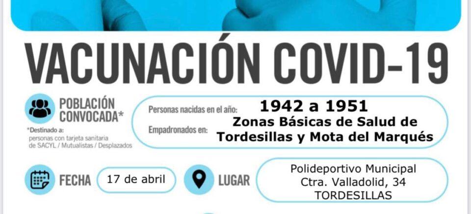 El Polideportivo de Tordesillas acoge el sábado 17 de abril la vacunación de las personas nacidas de 1942 a 1951 de la ZBS de Mota del Marqués