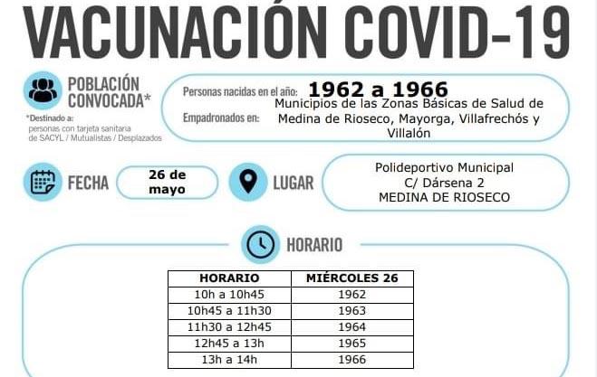 Rioseco acoge este miércoles la vacunación masiva para las personas nacidas de 1962 a 1966 de las ZBS de Rioseco, Villafrechós, Villalón y Mayorga