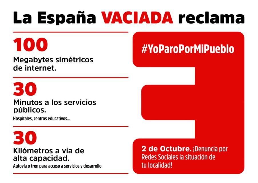 La España Vaciada exige equilibrio territorial con el Plan 100/30/30 en el 'Yo paro por mi pueblo' del 2 de octubre